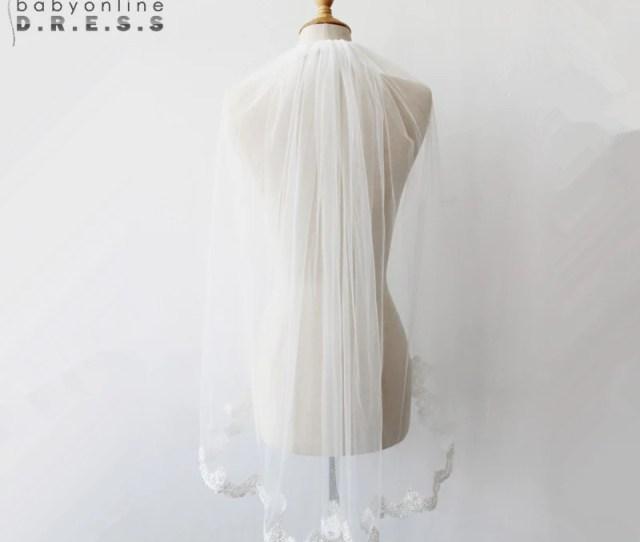 Veu De Noiva In Stock White Ivory Appliques Edge  Meter Wedding Veil With Comb Short
