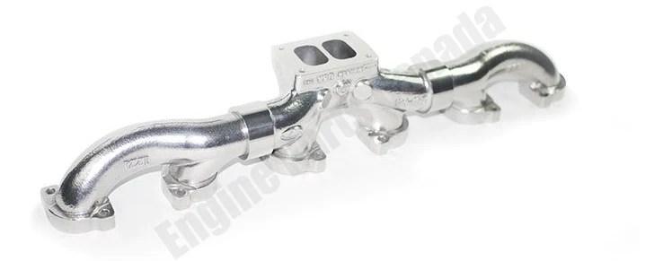 88100 full tilt detroit series 60 high mount ceramic coated exhaust manifold 9348