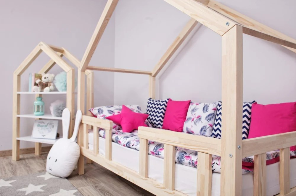 lit cabane a barreaux avec tiroir gigogne rami naturel