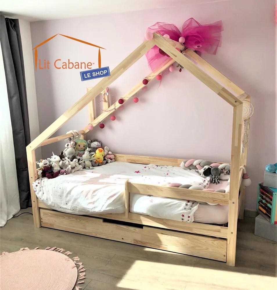 lit cabane avec tiroir gigogne domos naturel avec ou sans barrieres