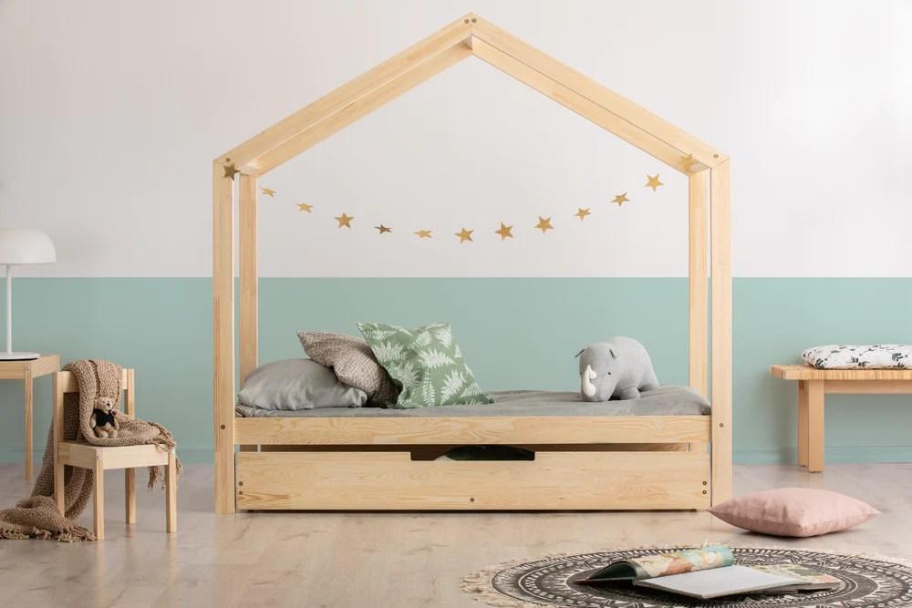 lit cabane avec tiroir gigogne roma naturel avec ou sans barrieres