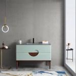 Burano 48 Aloe Green Freestanding Modern Bathroom Vanity Kartonrepublic
