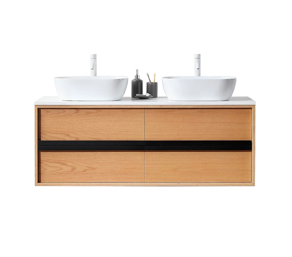 sintra 55 whitewash oak wall mounted modern bathroom vanity