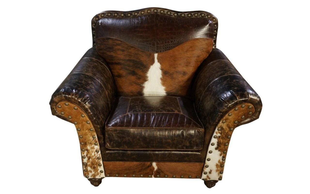 Old West Cowhide Club Chair Santa Fe Ranch