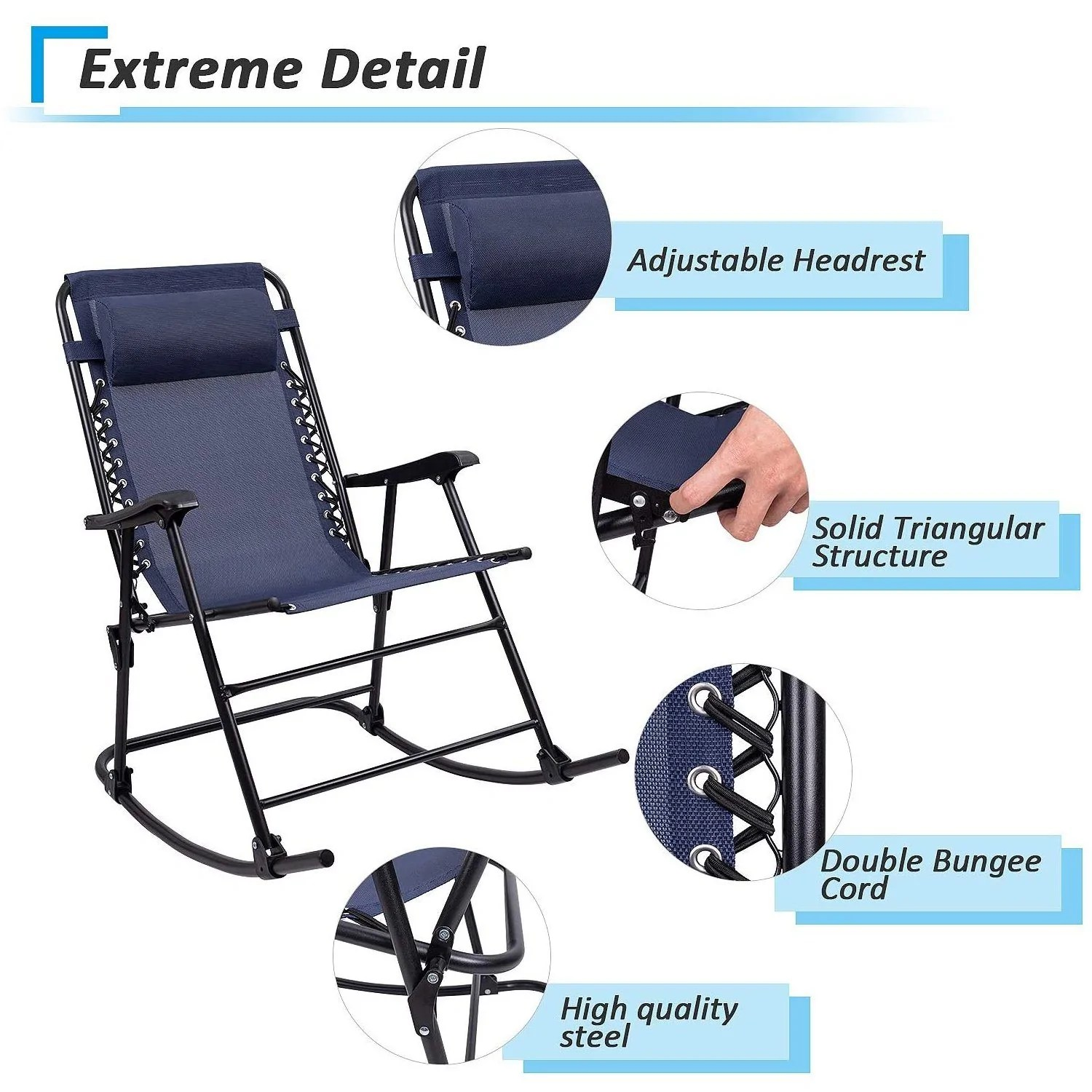 Furniwell Patio Rocking Chair Zero Gravity Chair Outdoor Folding Recliner Foldable Lounge Chair Outdoor Pool Chair For Poolside And Camping Furniwell