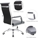 Furniwell Ribbed Leather Office Chair Mid Back Executive Computer Chair Conference Task Chair Adjustable Swivel Rolling Office Desk Chair Furniwell