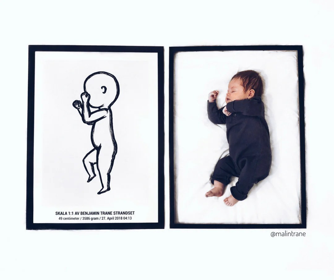 personalized scale 1 1 birth info posters