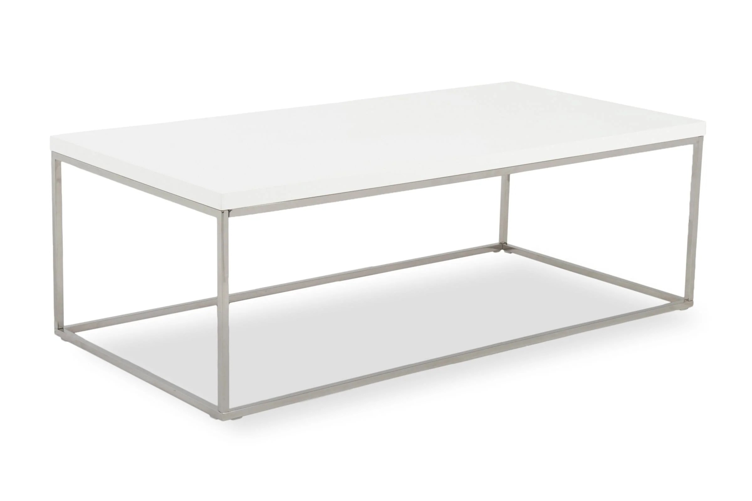 kings road rect coffee table white chrome