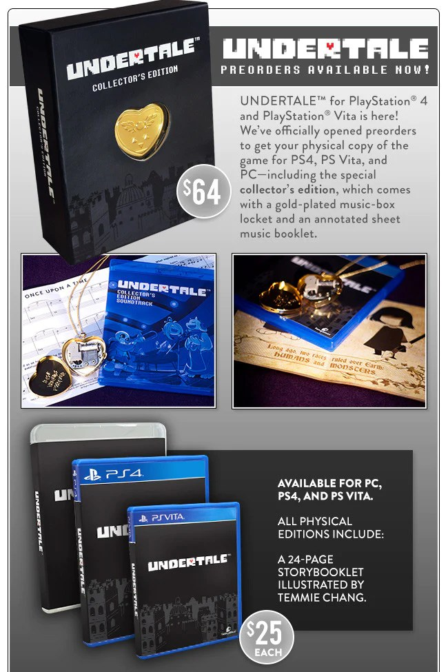 UNDERTALE Collectors Edition Preorders Are Here PS4 PS Vita And PC Fangamer