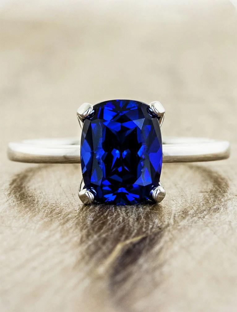 Heather Modern Cushion Cut Blue Sapphire Engagement Ring