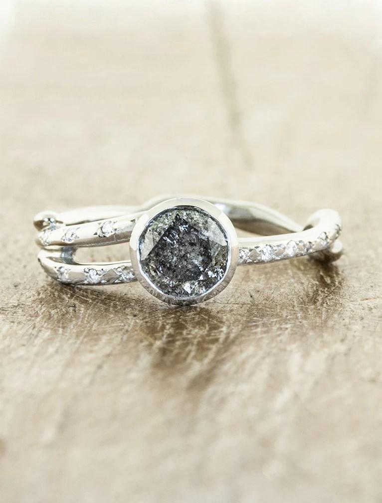 Amani Bezel Set Organic Inspired Engagement Ring Ken