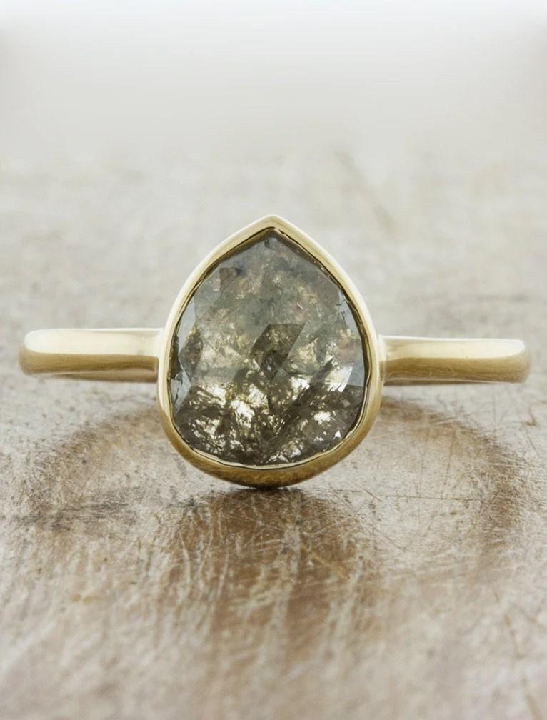 Zoe Bezel Set Pear Shape Diamond Engagement Ring Ken Amp Dana Design