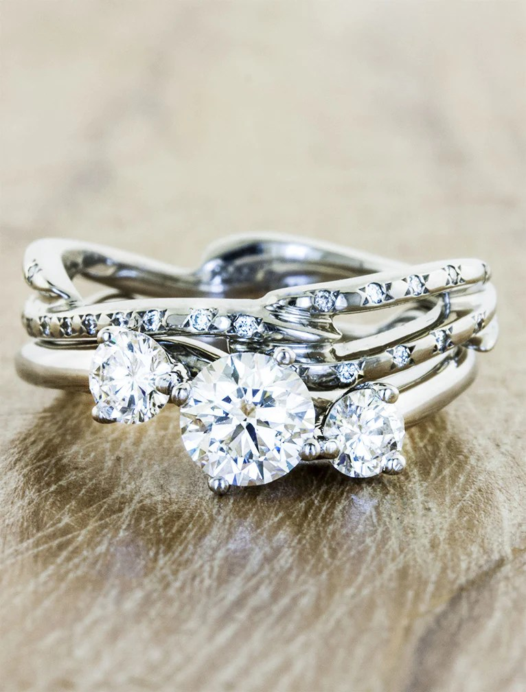 Aurora 3 Stone Sculptural 3 Stone Diamond Ring Ken