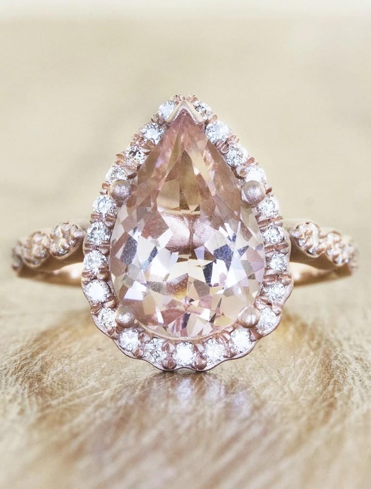 Jelissa Pear Shaped Morganite Engagement Ring Ken