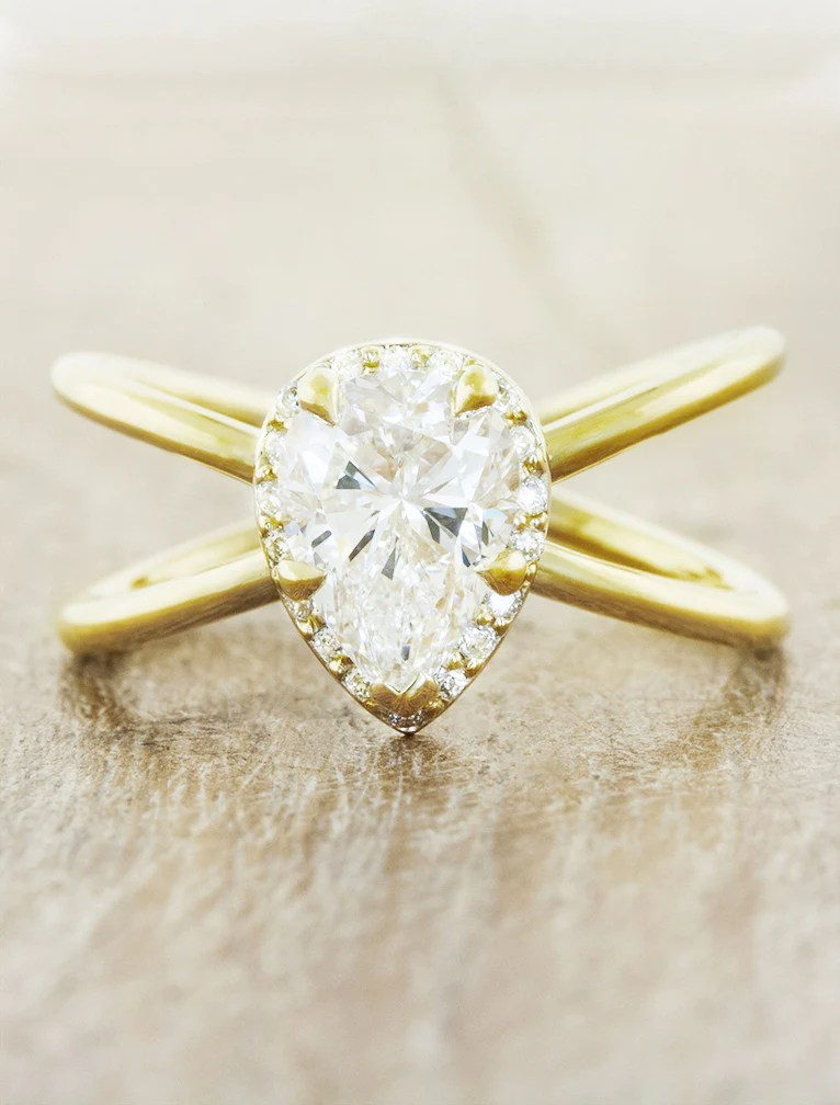 Versie Modern Pear Diamond Amp Gold Engagement Ring Ken