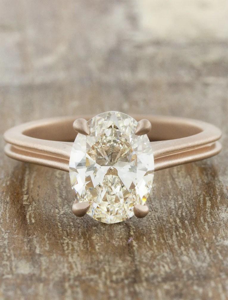 Queenie Modern Rose Gold Oval Diamond Ring Ken Amp Dana