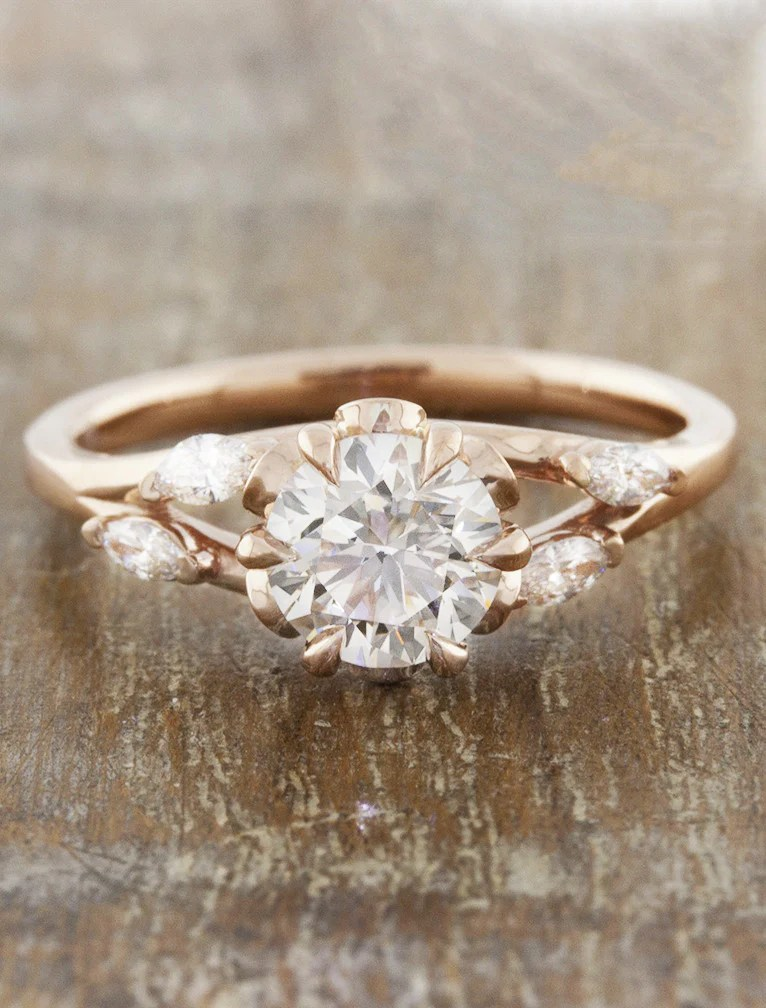 Anya Nature Inspired Rose Gold Engagement Ring Ken