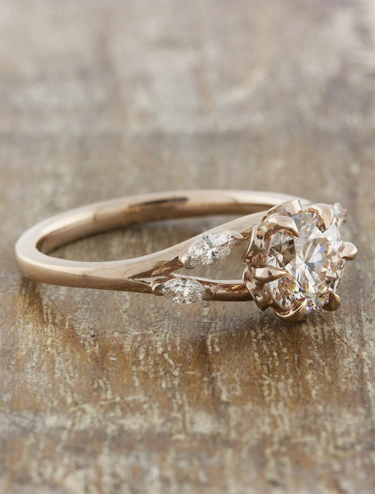 Anya Nature Inspired Rose Gold Engagement Ring Ken