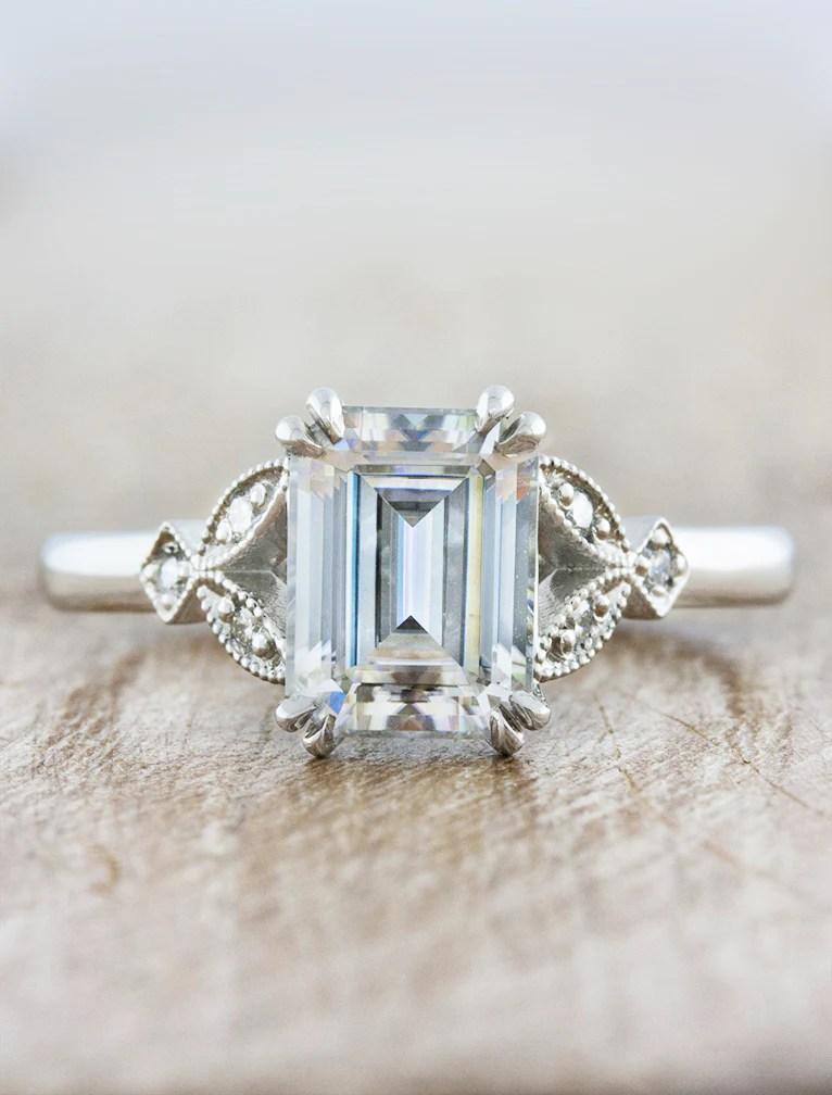 Greer Emerald Diamond Vintage Inspired Engagement Ring