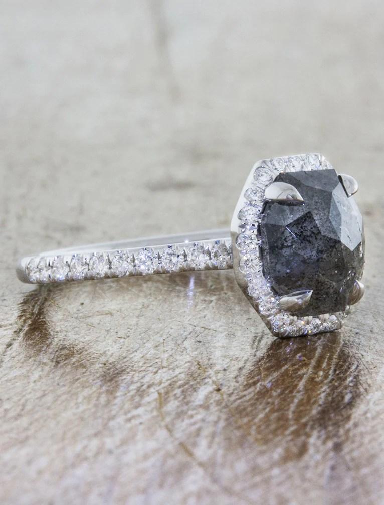 Clarieece Rough Grey Diamond Halo Engagement Ring Ken Amp Dana Design