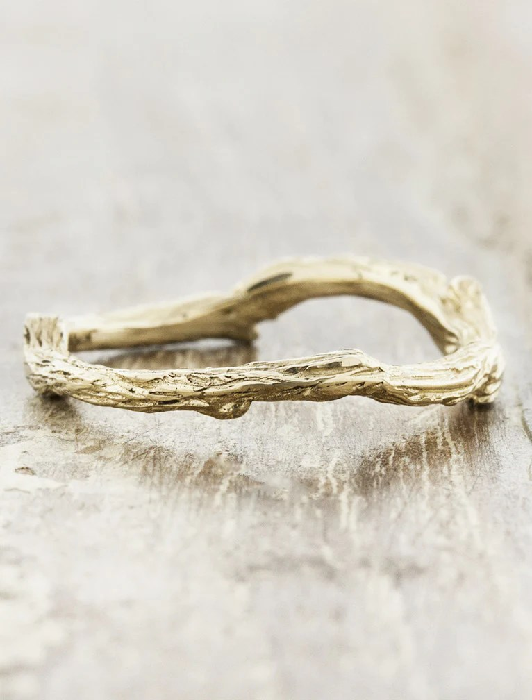 Vine Natural Tree Bark Textured Wedding Ring Ken Amp Dana