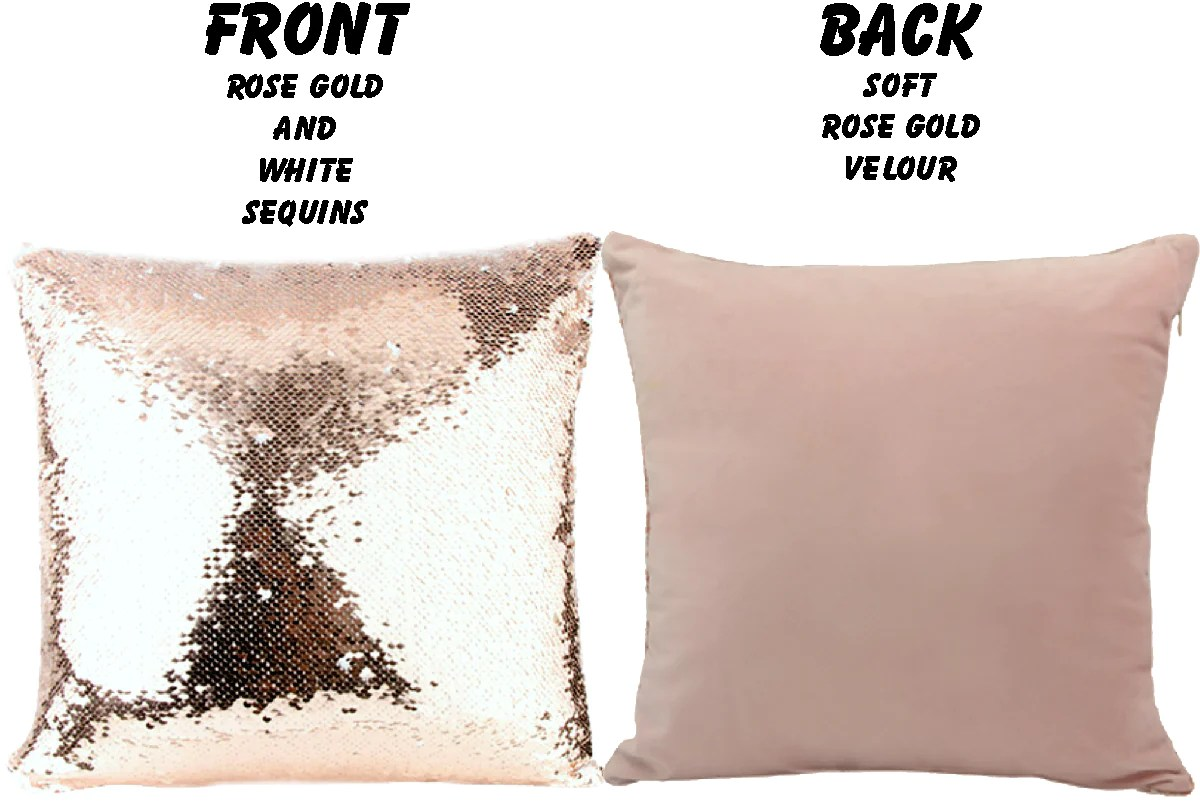 custom disney vacation reveal rose gold sequin pillow we re going to jin jin junction