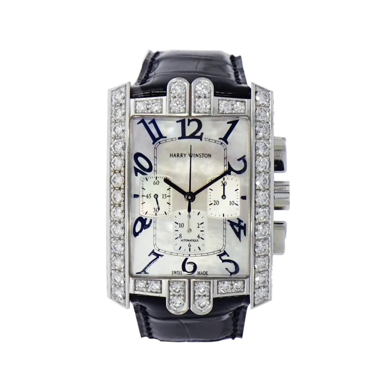 Pre Owned Harry Winston Harry Winston Avenue C Chronograph In 18 Karat White Gold Pre Owned