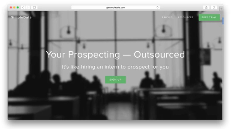 screenshot of the business landing page