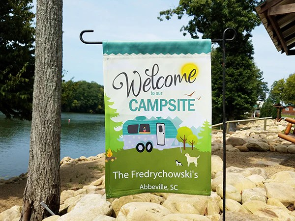 welcome to our campsite flag