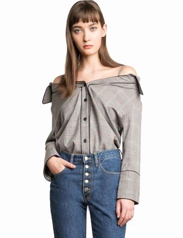 pixie market stella plaid strappy over the shoulder shirt