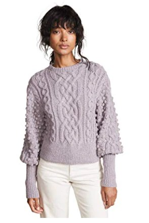 Apiece Apart Women's Lieve Handknit Cable Crew Sweater