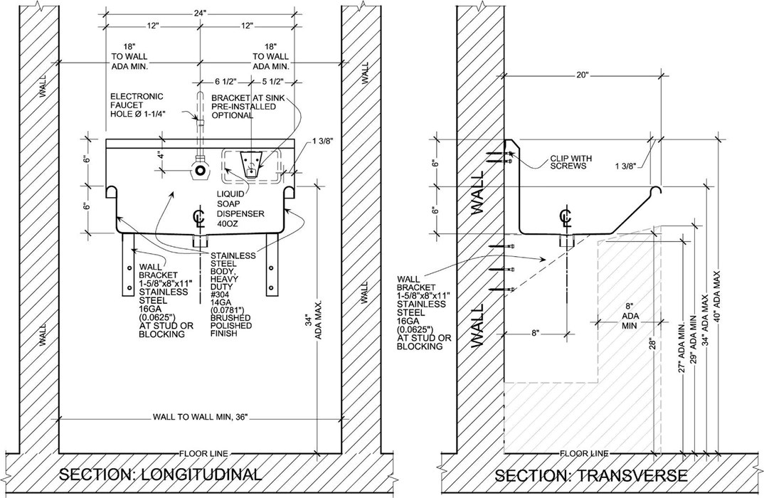 heavy duty 14 gauge 0 0781 type 304 stainless steel ada compliant single station wash up sink 24 electronic faucets wall brackets