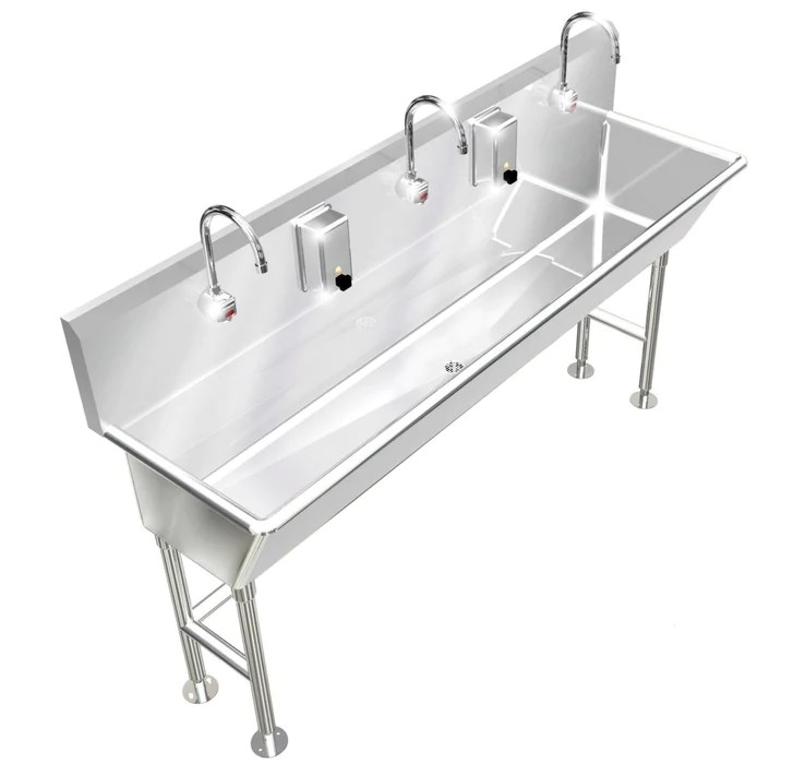 heavy duty 14 gauge 0 0781 type 304 stainless steel multi station wash up sink 72 electronic faucets deep bowl free standing 032e722012h