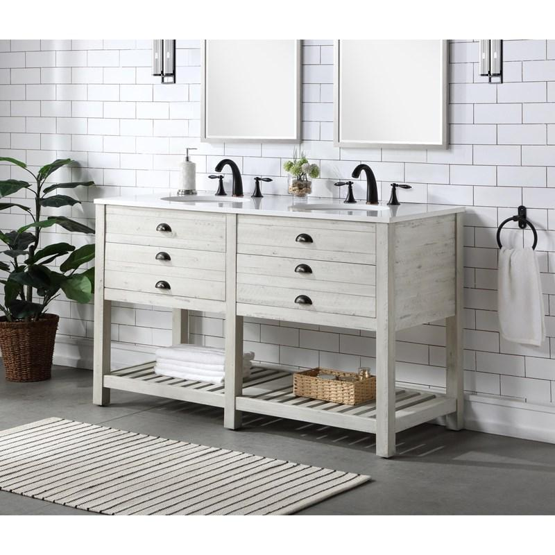 waldorf 2 drawer double sink vanity 57