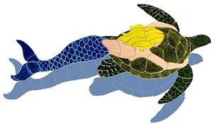 mermaid with turtle shadow swimming pool mosaic