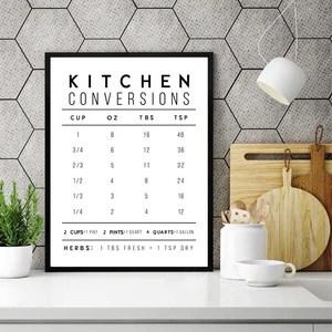 Cooking Conversions Kitchen Wall Decor Art Print Gallery Wallrus Free Worldwide Shipping