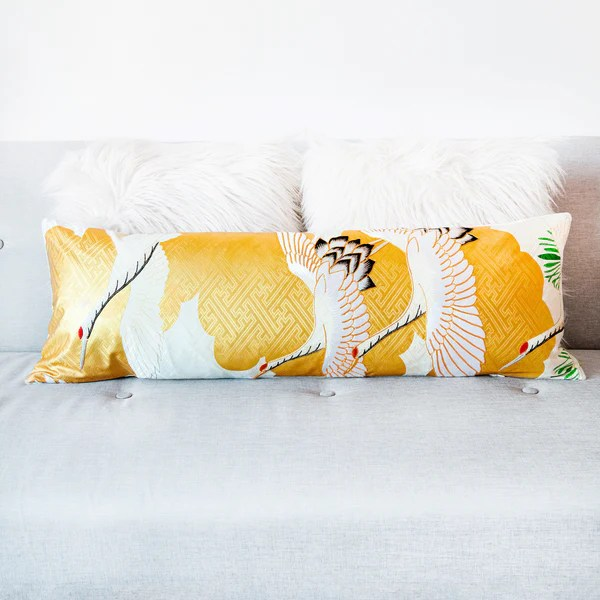 cream and gold japanese cranes bolster pillow with gold couchwork hunted and stuffed