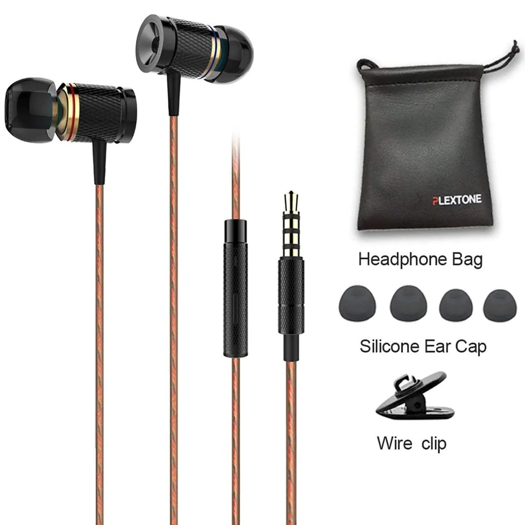 Plextone X53M Richbass Magnetic In-ear Earbuds With Mic For Mobile-Black