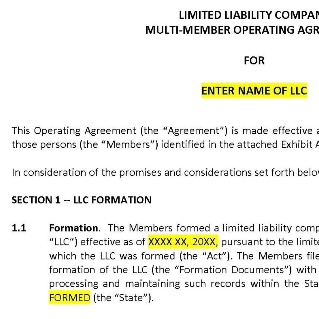 When creating your own llc operating agreement (or using our template), you'll need to insert this information to help identify and classify the llc the agreement pertains to. Llc Operating Agreement Template Legal Goodness