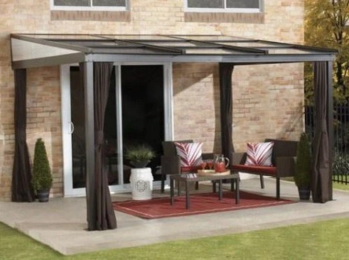 sojag budapest 10x12 patio gazebo with netting and curtains