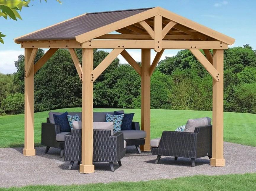 Yardistry 10x10 Tuscan Pavilion 100% Cedar with Aluminum ... on Yardistry Backyard Pavilion id=95332