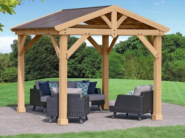 Yardistry 10x10 Tuscan Pavilion 100% Cedar with Aluminum ... on Yardistry Backyard Pavilion id=97390