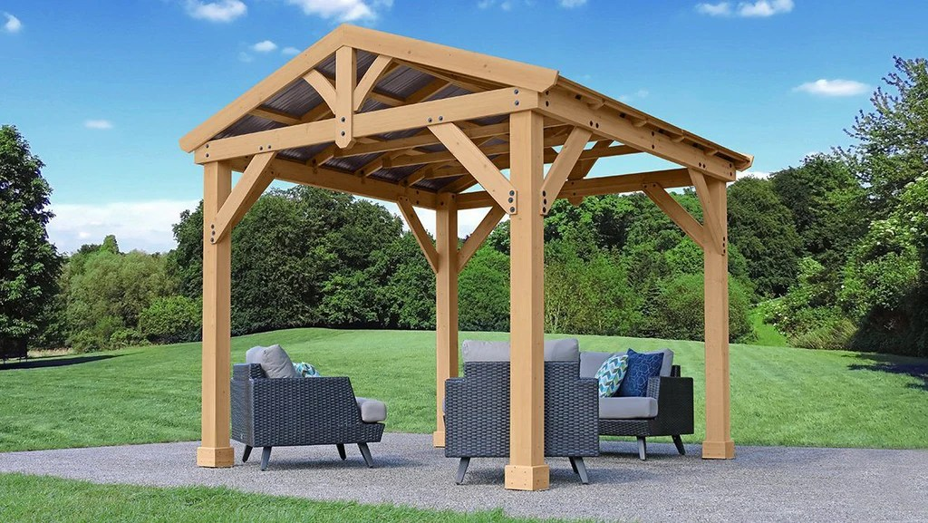 Yardistry 10x10 Tuscan Pavilion 100% Cedar with Aluminum ... on Yardistry Backyard Pavilion id=58778
