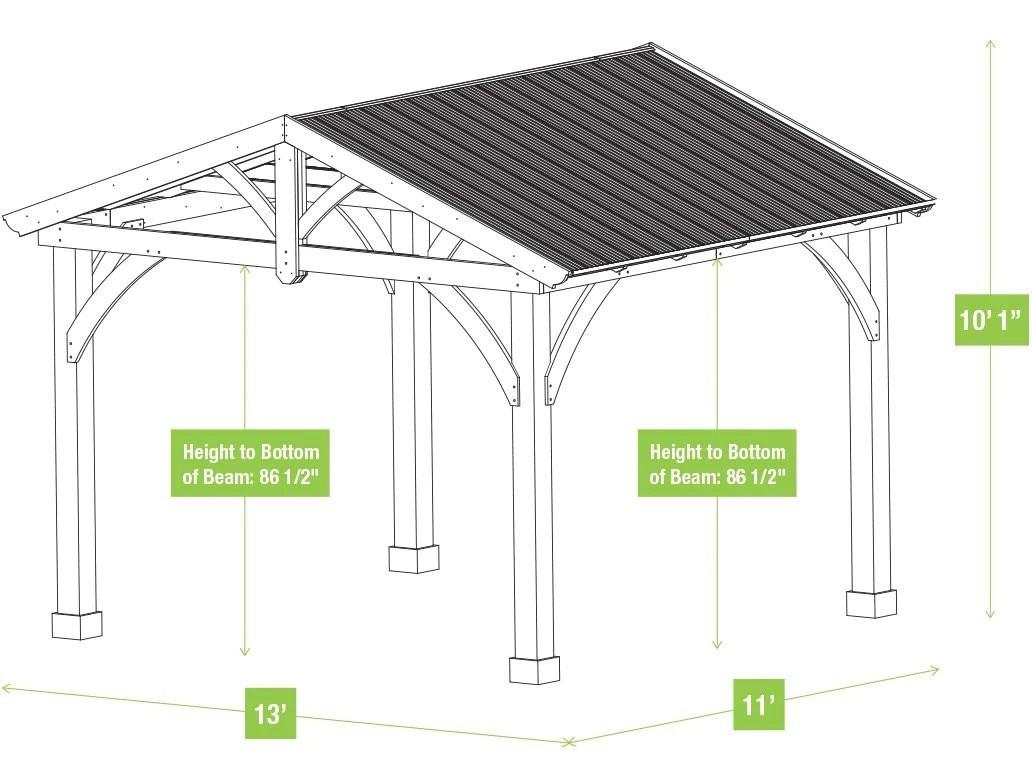 Yardistry 11 x 13 Carolina Pavilion 100% Cedar with ... on Yardistry Backyard Pavilion id=51823