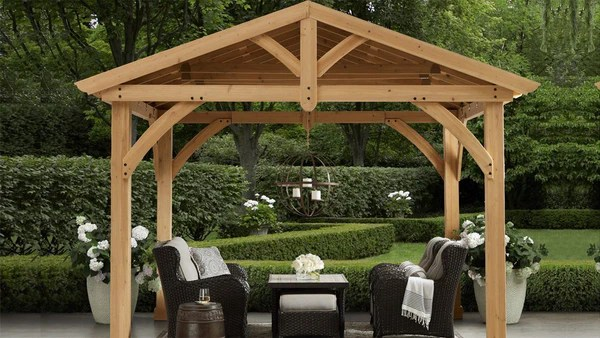 Yardistry 11 x 13 Carolina Pavilion 100% Cedar with ... on Yardistry Backyard Pavilion id=35184