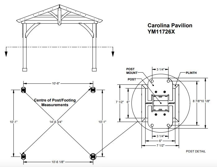 Yardistry 11 x 13 Carolina Pavilion 100% Cedar with ... on Yardistry Backyard Pavilion id=86993
