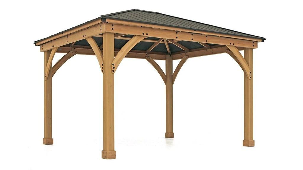 Yardistry 11 x 13 Meridian Gazebo 100% Cedar with Aluminum ... on Yardistry Backyard Pavilion id=84185