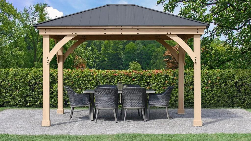 Yardistry 11 x 13 Meridian Gazebo 100% Cedar with Aluminum ... on Yardistry Backyard Pavilion id=15778