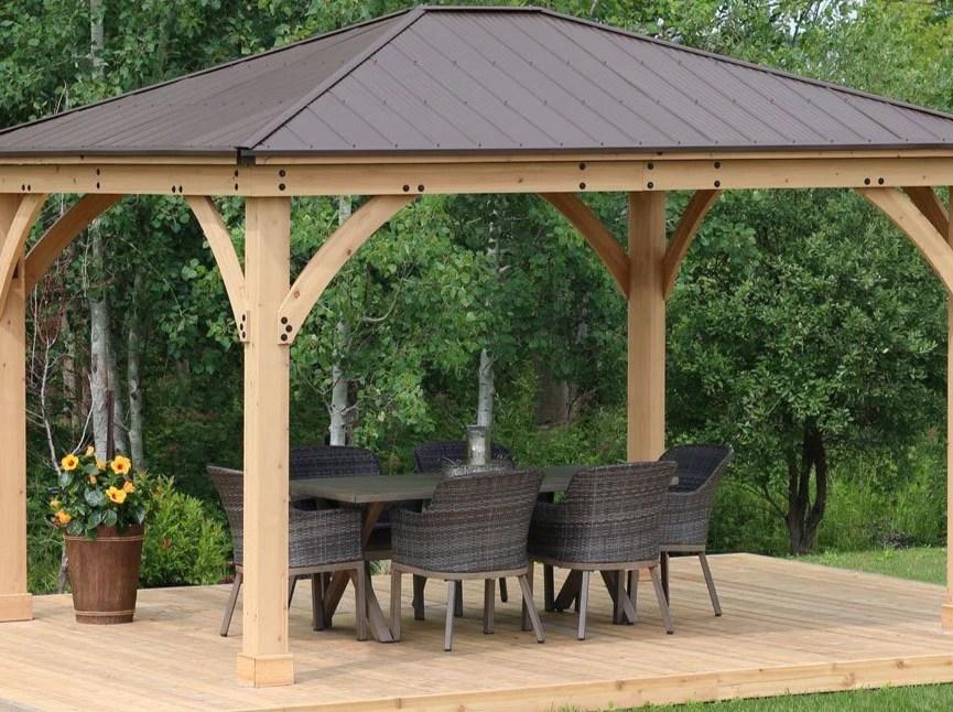 Yardistry 12 x 14 Meridian Gazebo 100% Cedar with Aluminum ... on Yardistry Backyard Pavilion id=22755