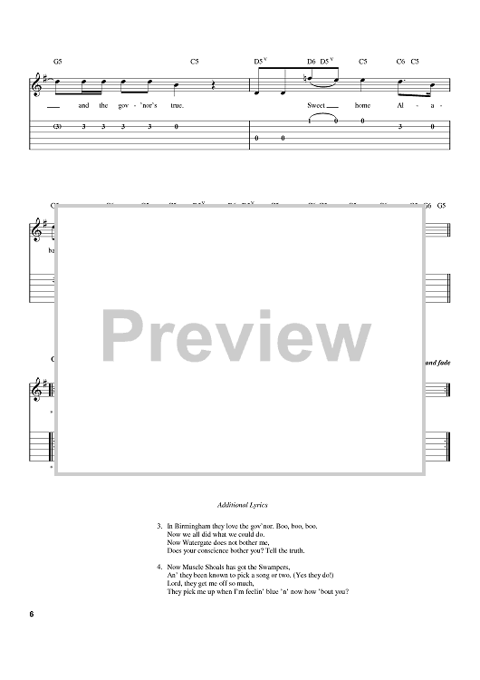 Tell the truth sweet home alabama where the skies are so blue sweet home alabama lord, i'm coming home to you, here i come alabama (oh oh oh, alabama, oh oh oh, … Sweet Home Alabama Quot Sheet Music By Lynyrd Skynyrd Alabama For Easy Guitar Tab Sheet Music Now